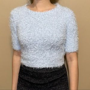 Powder Blue Fitted Sweater Tee